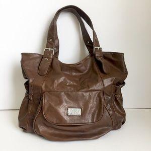 BILLABONG large brown vegan leather hobo satchel
